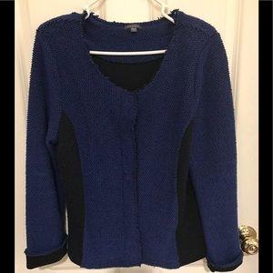 LILLA P nubby snap blue/black cardigan size L